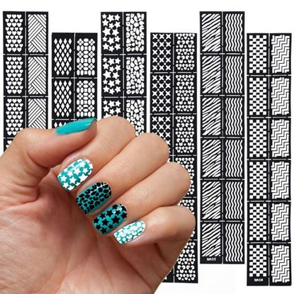 Picture of 6 pcs Reusable Stamping Tool DIY Nail Art Hollow Template Nail Stickers Stamp Stencil