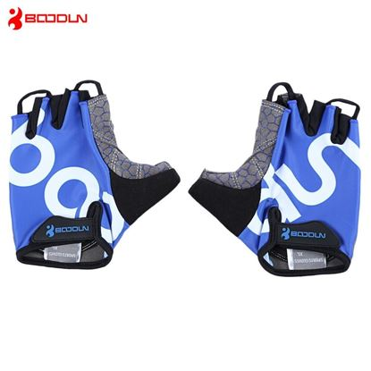 Picture of BOODUN 2140018 Paired Men Women Anti-slip Half Finger Gloves for Cycling Gym Sport - Blue