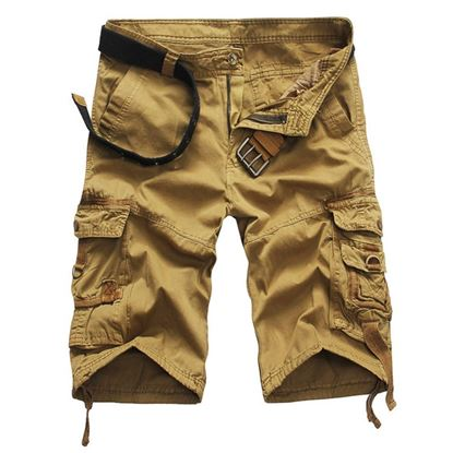 Picture of Casual Mid Waist Pure Color Loose-fitting Multiple Pocket Cotton Men Shorts