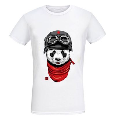 Picture of Casual Male Panda Print Round Neck Short Sleeve Shirt