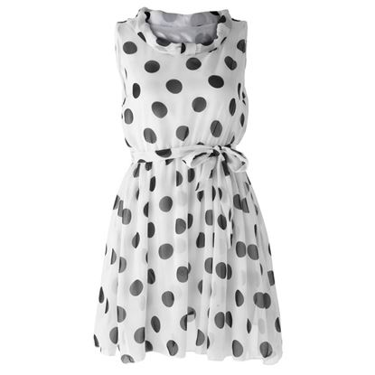 Picture of Chic Style Ruffled Polka Dot Print Sleeveless Chiffon Women's Dress