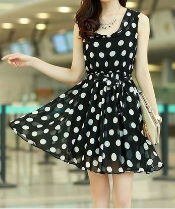 Picture of Chic Style Ruffled Polka Dot Print Sleeveless Chiffon Women's Dress - Black