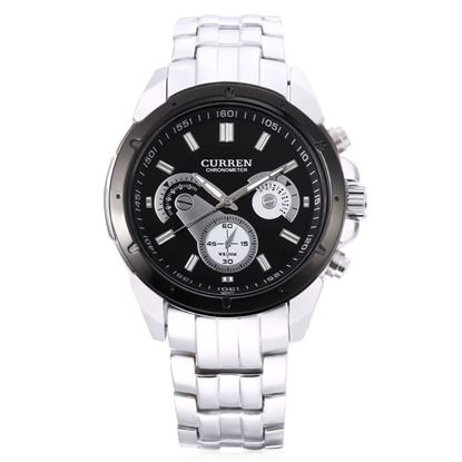 Picture of CURREN 8009 Male Quartz Watch Luminous Stainless Steel Band Decorative Sub-dial 3ATM Wristwatch - Silver