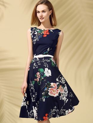 Picture of Floral Print Fit and Flare Midi Dress