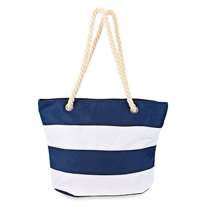 Picture of Guapabien Large Capacity Casual Stripe Beach Canvas Tote Bag