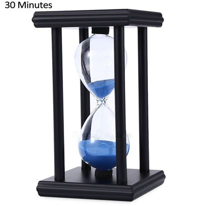 Picture of Hourglass Sand Timer 30 Minutes Wood Sand Timer for Kitchen Office School Decorative Use - Blue