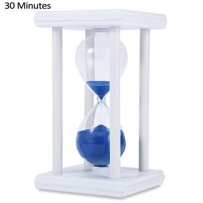 Picture of Hourglass Sand Timer 30 Minutes Wood Sand Timer for Kitchen Office School Decorative Use - Blue and white