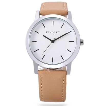 Picture of KINGSKY 8209 Female Quartz Watch Leather Band Daily Water Resistance Concise Style Wristwatch - Brown