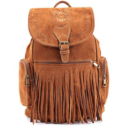 Picture of Retro Engraving and Fringe Design Women's Satchel - Brown