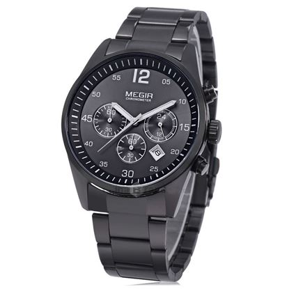 Picture of MEGIR 2010 30M Water Resistance Male Quartz Watch Luminous Pointers Stainless Steel Band